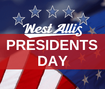 Presidents Day Graphic Showing American Flag and Text