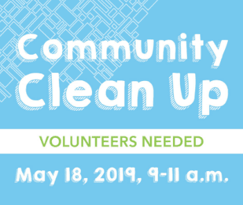 Community Clean up Text with Blue Background