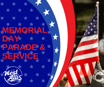 Memorial Day Parade Graphic with American Flag Photo and &#34Memorial Day&#34 text