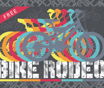 "2019 Bike Rodeo News Flash Graphic with illustration of bicycles in a row and text reading ""bike"