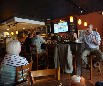 Photograph of Mayor Dan Devine at Urban Joe Cafe from Coffee with the Mayor in 2018