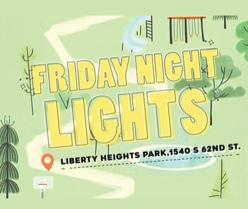 "Illustration of park with text overlay ""Friday Night LIghts"""