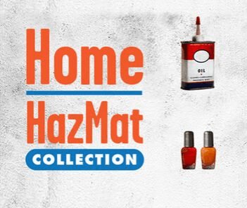 Photograph of nail polish bottles and oil can with text overlay reading &#34Home HazMat Collection&#