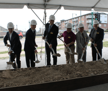 Photograph of Mayor Dan Devine, city officials, and staff from Mandel Group, Inc. at the groundbreak
