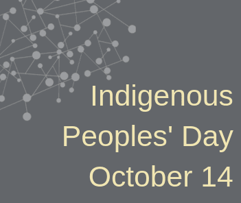 "Illustration of gray background with cream-colored text reading ""Indigenous Peoples Day"""