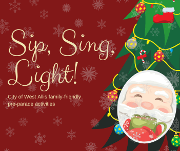 "Illustration of Santa sipping hot chocolate in front of Christmas tree with text reading ""Sip, Si"