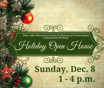"Illustration of pine garland and holiday ornaments with text overlay reading ""Holiday Open House&"