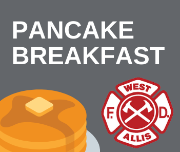 "Illustration with gray background and stack of pancakes. Text overlay reads ""Pancake Breakfast.&#"