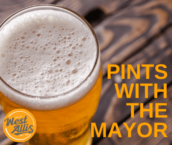 Photograph of beer in tall glass with orange text overlay reading &#34Coffee with the Mayor&#34