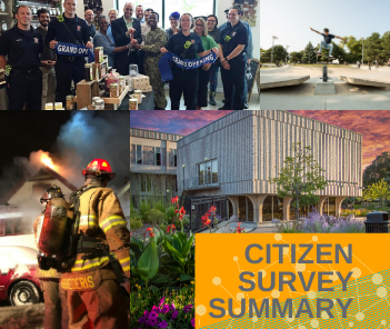 "Collage of four photos of City of West Allis events with text overlay reading ""Citizen Survey Sum"