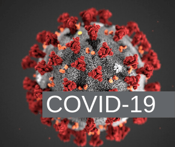 Image of coronavirus microbe magnified with overlay text reading &#34COVID-19&#34