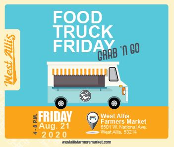 Illustration of food truck with text overlay reading Food Truck Friday Grab N Go