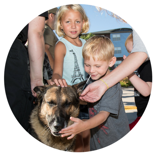 Photo of Police K9 Dog with Children at West Allis National Night Out 2017