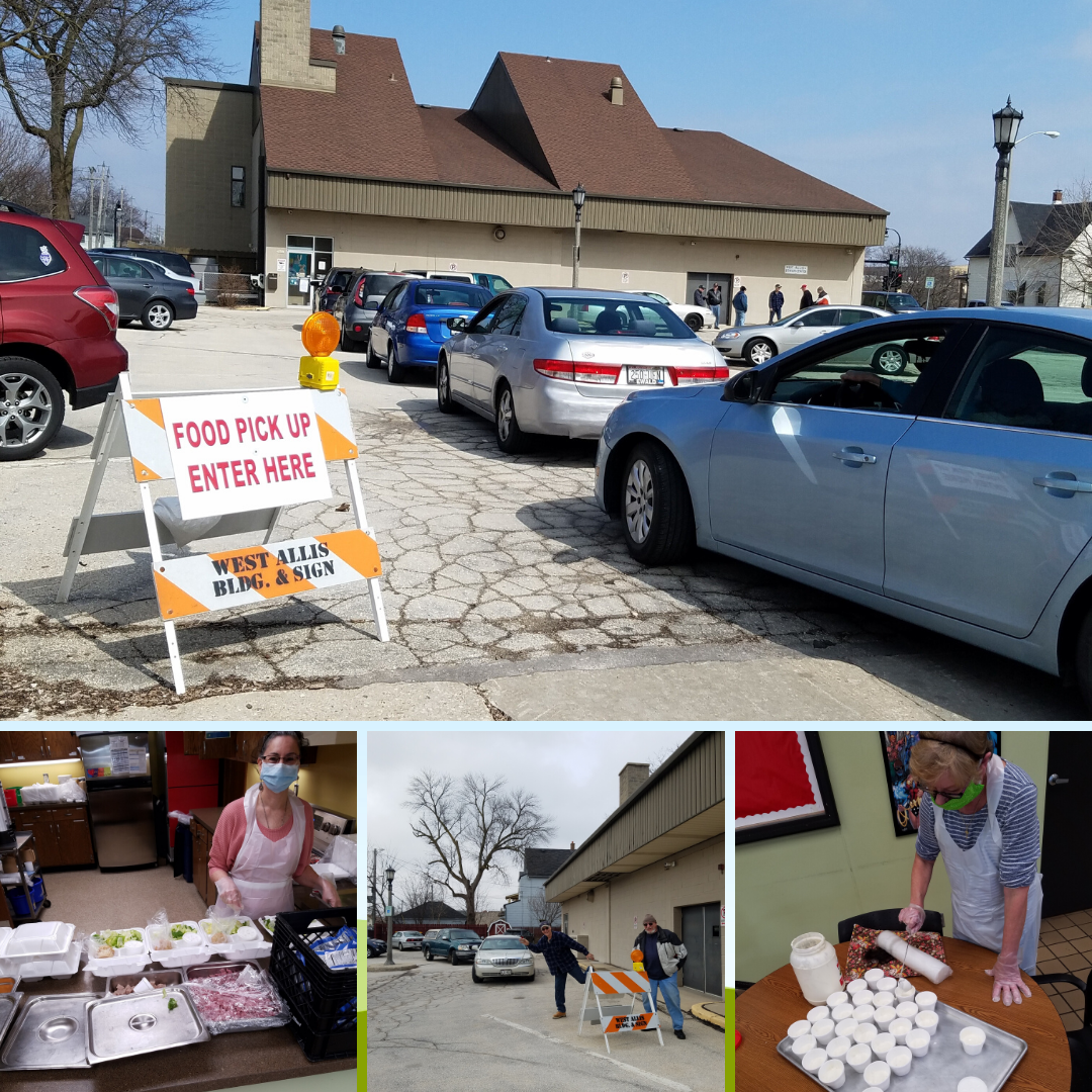 Photo collage of Senior Center carry out meals program during COVID19